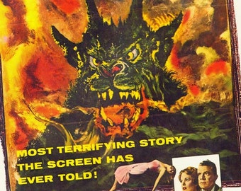 Curse Of The Demon 1950s Film Sci Fi Horror Movie Poster Full Color Advertisement Film Lithograph To Frame Science Fiction