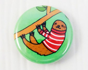 Sloth Wearing a Striped Sweater Button