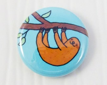 Tree Sloth One Inch Button