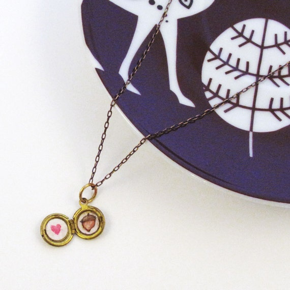 Miniature Flower Locket With Heart and Acorn Drawings