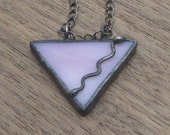 Stained Glass Pendant - Triangle in Pink