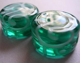 Lampwork Beads Blue Green Handmade Glass Teal Tabs (2)