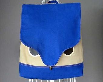 Owl Backpack, Owl Bag, Blue Backpack, Unisex BackPack, Mens Backpack, Diaper Backpack, Laptop Backpack, Harajuku Bag, Owl Theme, BLUE BEIGE