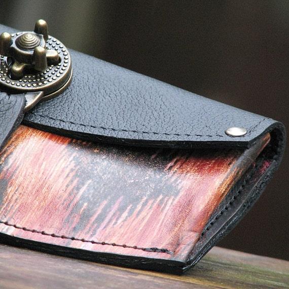 Women's Leather Wallet - Ikat Orange Steampunk with Antique Brass Hardware