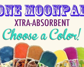 Organic Extra Absorbent Moonpads Reusable Washable Cotton Fabric Cloth Menstrual Pads - Choose a Color