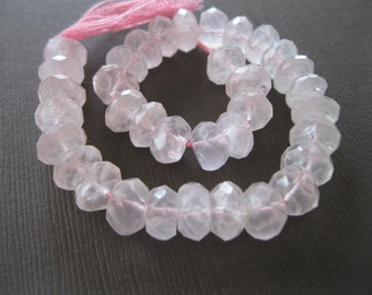Faceted Semi Frosted Translucent Pink Rose Quartz Rondells 8mm