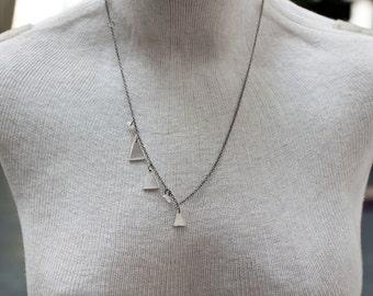 kite tail strings necklace - asymmetrical necklace - triangle necklace - sterling silver triangle necklace - triangle jewelry