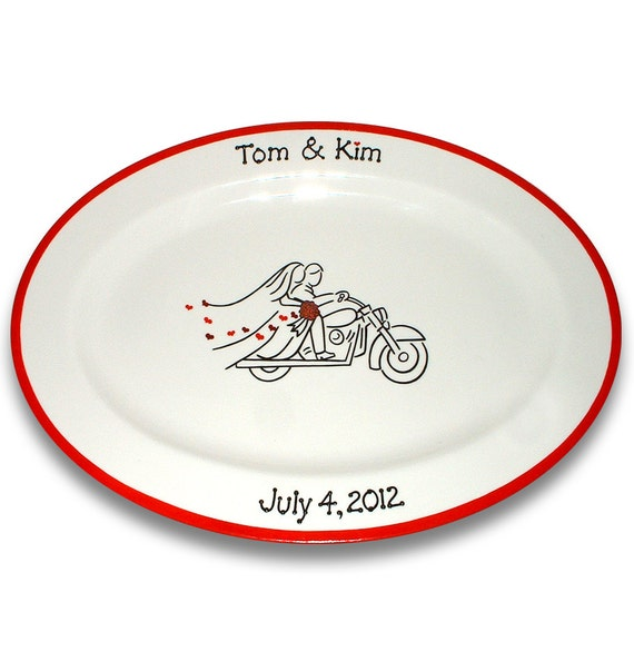 Motorcycle Bride and Groom Guest Book Signature Platter
