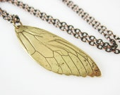 Cicada Wing Necklace, Copper or Brass, Real Insect Jewelry