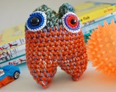 Carrot Mini Monster OOAK Crochet Doll - knotbygranma