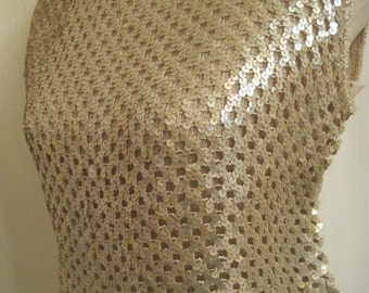 Vintage Beige Sequin Knit Top