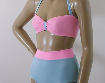 High Waisted Bikini Bottom Swimsuit and Retro Bandeau Top in Pink and Baby Blue in S.M.L.XL