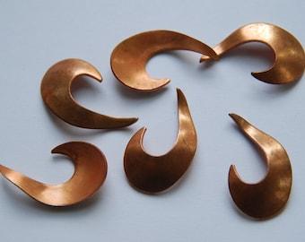 """6 Vintage Copper """"J"""" Shaped Blanks"""