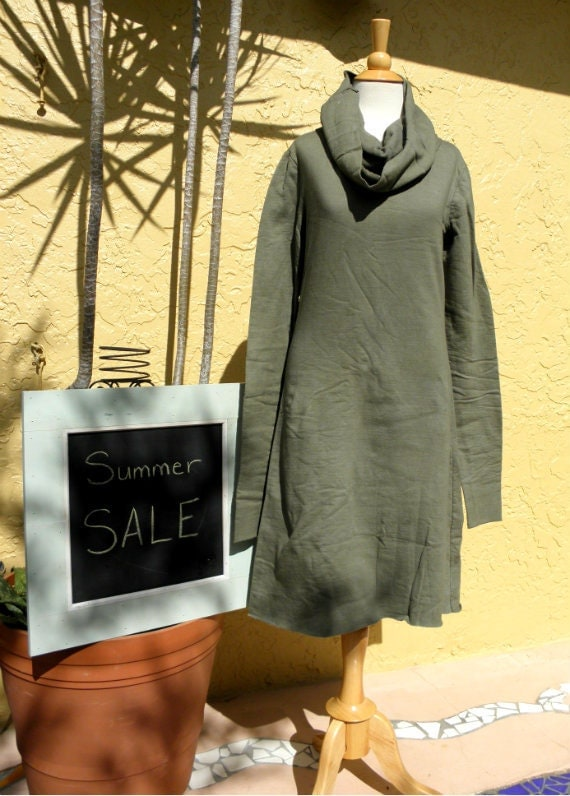 At First Snowfall Dress in Organic Hemp Fleece. SUMMER SALE Ready to ship.