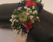 Beadwoven Coral Flower Garden Bracelet