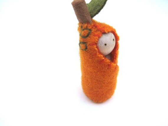 Little Autumn Pumpkin Sprite - Hand Embroidered Wool and Wood - Waldorf Inspired