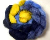 Handdyed Wensleydale Wool Roving - Orlando - blue, navy, slate, gold