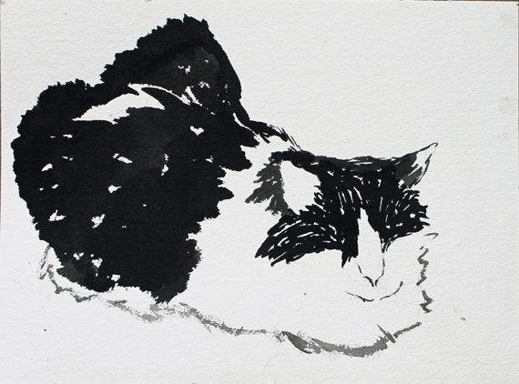 black and white cat ink painting original