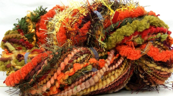 HandSpun Yarn merino wool art yarn Autumn Leaves 71 yards Functionart by Kitty Grrlz