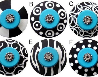 Black White and Turquoise Hand Painted Swarovski Crystal Jeweled Decorative Dresser Kids Nursery Baby Childrens Custom Drawer Pulls Knobs