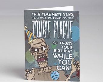 Zombie Plague Birthday Card with Envelope