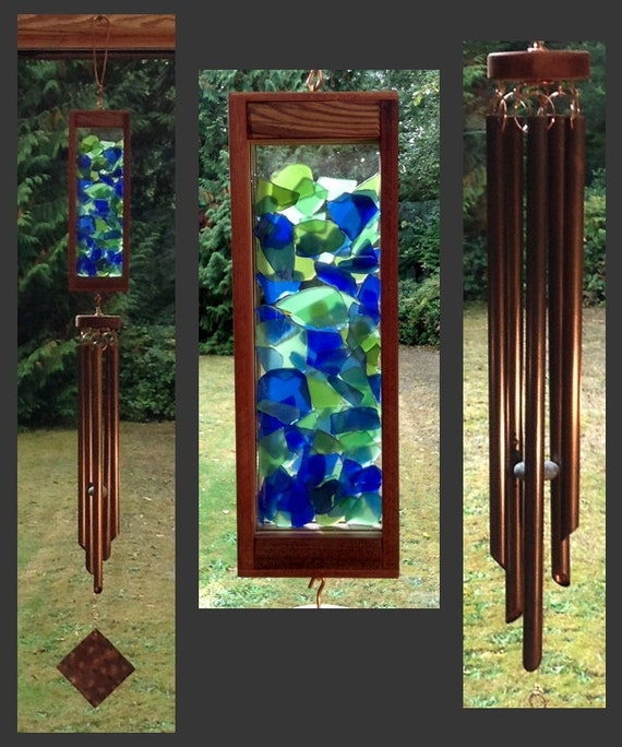 Wind Chime, Beach Glass, Stained Glass, Copper, Handcrafted, Blue Green, Windchimes, Wind Chimes, Suncatcher