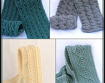 Crochet Cable Scarf Patterns - Crochet Men's Scarf Patterns - Crochet Patterns For Men And Women - Forest Trails Cable Scarves 4 Designs