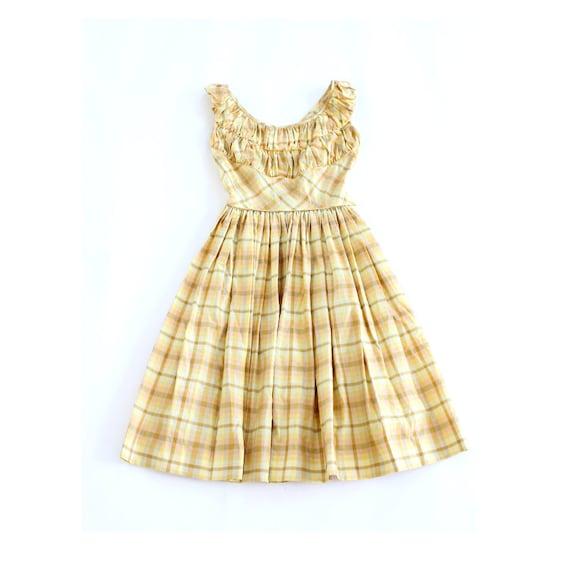 vintage 1950's GOLDEN FIELDS plaid full skirt day dress