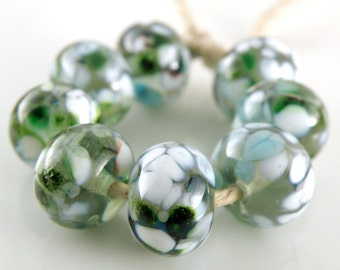 Mint Medley - Handmade Artisan Lampwork Glass Beads 8mmx12mm- Green, Blue, White, Grey - SRA (Set of 8 Beads)