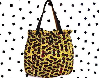 Red Black and Yellow Graphic Pattern Ruffle Tote- Repurposed Fabric