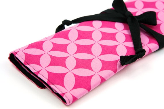 Knitting Needle Case - Pink Cathedral - IN STOCK black pockets for all sizes or paint brushes