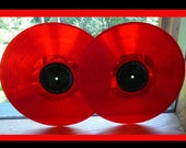 Red Record Albums for Jewelry, Bowls or crafting - Vinyl- Supports Animal Rescue in Idaho