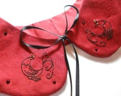 Red Silk and Swarovski Crystal Paradise Bird Hand Embroidered Peter Pan Collar