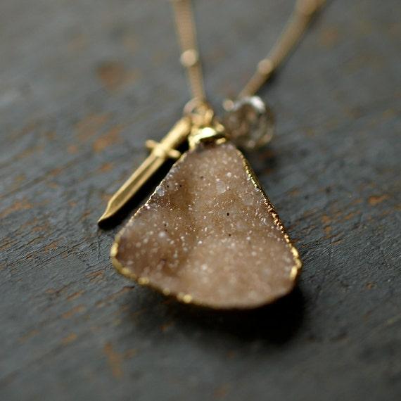 Dagger Druzy Necklace Gold Chain Knife Charm Rutilated Quartz Gemstone Sparkle Jewelry