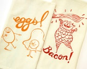 Eggs and Bacon Breakfast Tea Dish Towel set for the kitchen