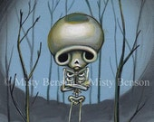 sad skeleton cloud art day of the dead gothic fantasy blues el dia de los muertos print 5x7 by Misty Benson of Morbidly Adorable
