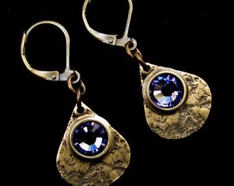 Granite Textured Brass Teardrops with Tanzanite Crystal Leverback Earrings