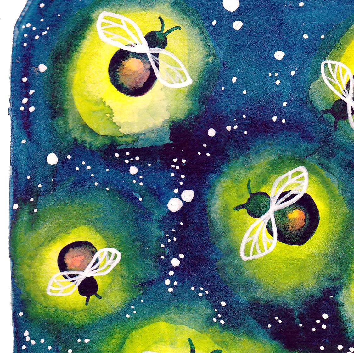Watercolour Fireflies Night Light Art Print of Original Painting Summer Wall Art