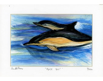 Dolphins Racing Signed Numbered 2 of 250 Matted Print