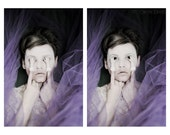 Peek-A-Boo - FREE SHIPPING - Girl Face Fabric Doll Hands Purple White Ceramix Bisque Powder Creepy Surreal Lace HidePortrait Print