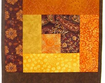 Autumn Leaves Orange Yellow Gold Brown Wallhanging or Half size Tablerunner