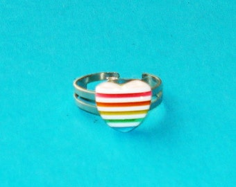 Rainbow Heart Striped Pride Adjustable Ring