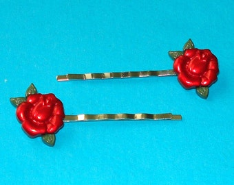 LAST ONE! Red Rockabilly Rose Bobby Pins - Set of Two
