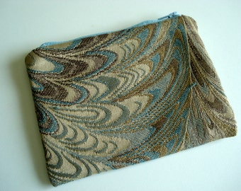 Blue Marble Tapestry Zipper Pouch - Small