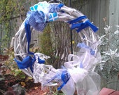 SALE!! Grape Vine Wreath Blue and Silver with Upcycled Material and Bow