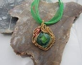 Green Druzy Wire Wrapped Amulet, Unique Wire Wrap, ooak necklace