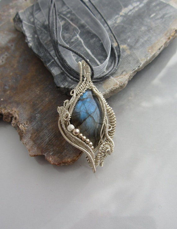Labradorite Sterling Wire Wrapped Pendant Intricate Wire