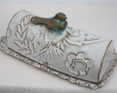 Butter dish with blue bird
