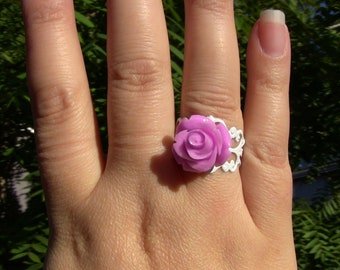 white brass filigree adjustable rose ring