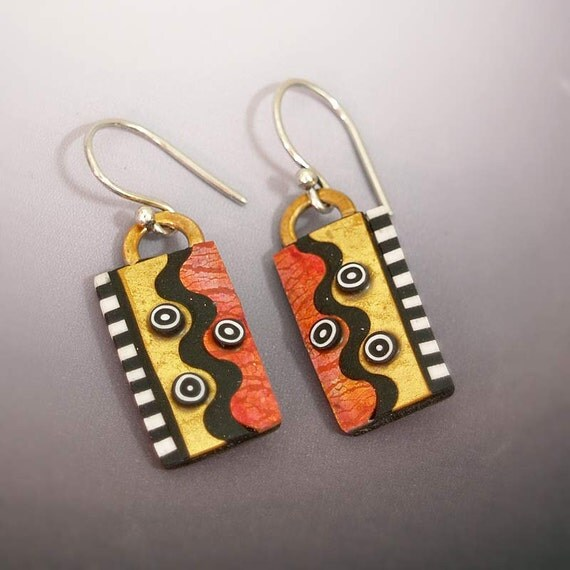 Metallic Polymer and Gold Leaf Sterling Silver French Wire Dangle Earrings